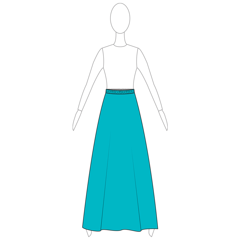 SKIRT 001-A TURQUOISE LYCRA