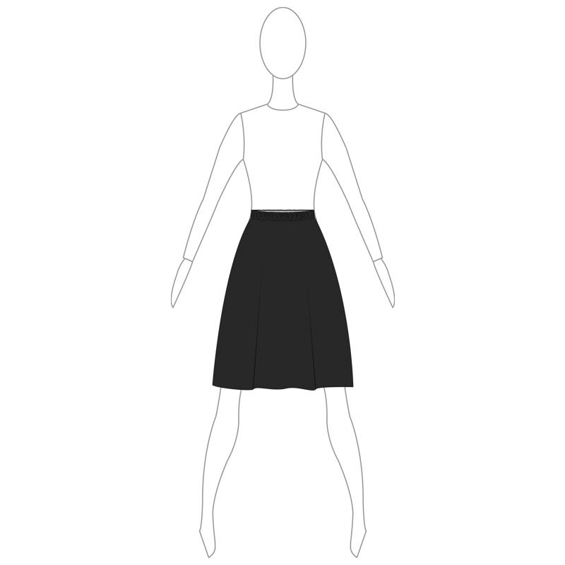 SKIRT 002-A BLACK LYCRA