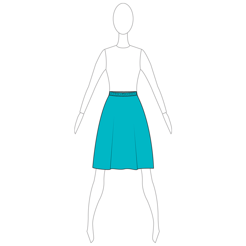 SKIRT 002-A TURQUOISE LYCRA