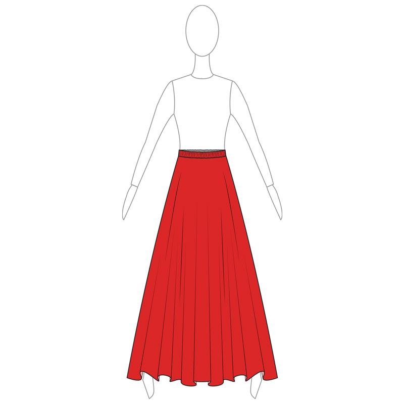 SKIRT 005-A RED LYCRA
