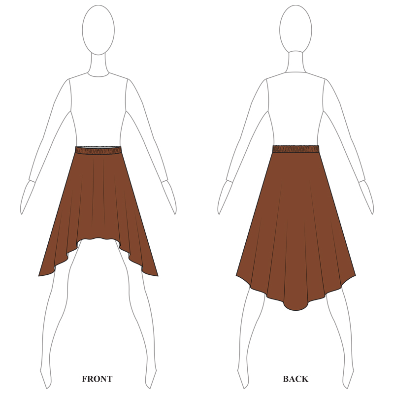 SKIRT 008-A BROWN LYRCA