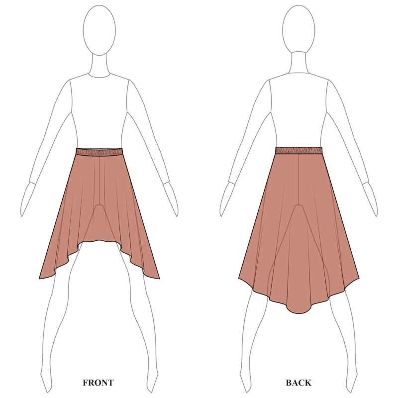 SKIRT 008-B BROWN MESH