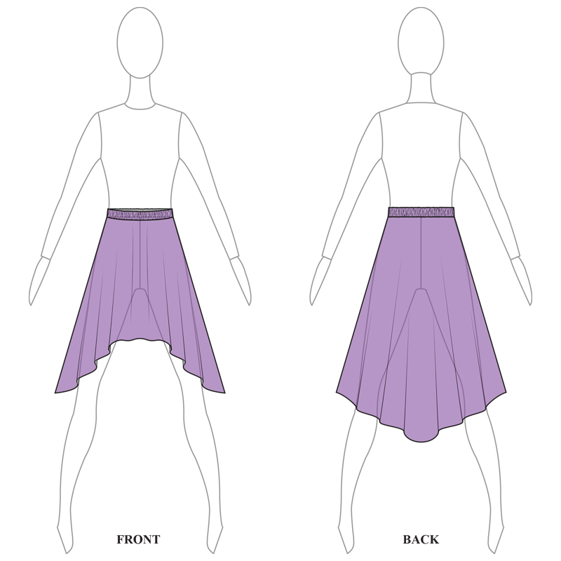 SKIRT 008-B PURPLE MESH