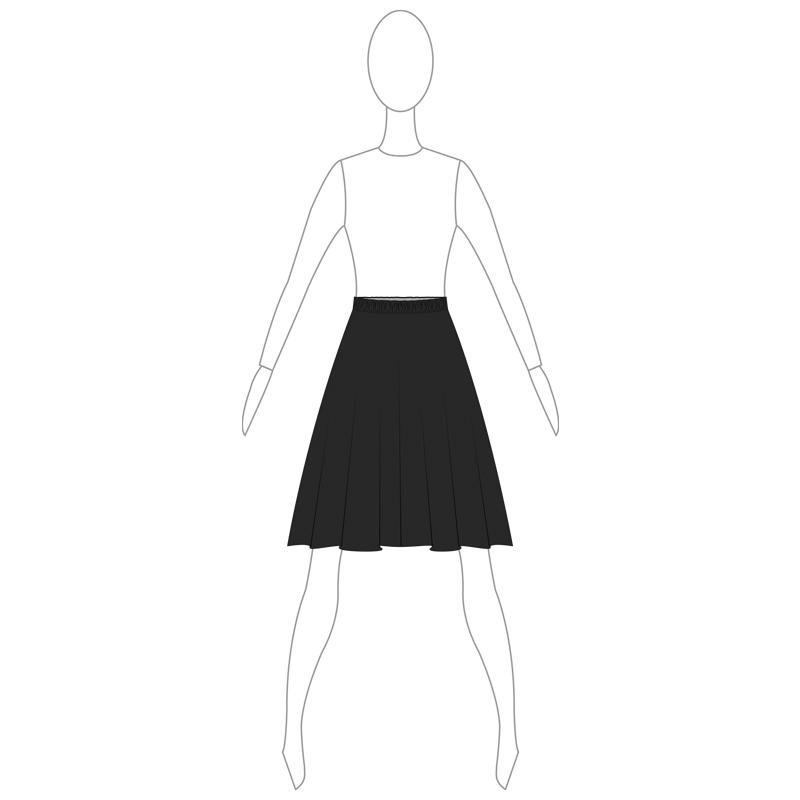 SKIRT 004-A BLACK LYCRA