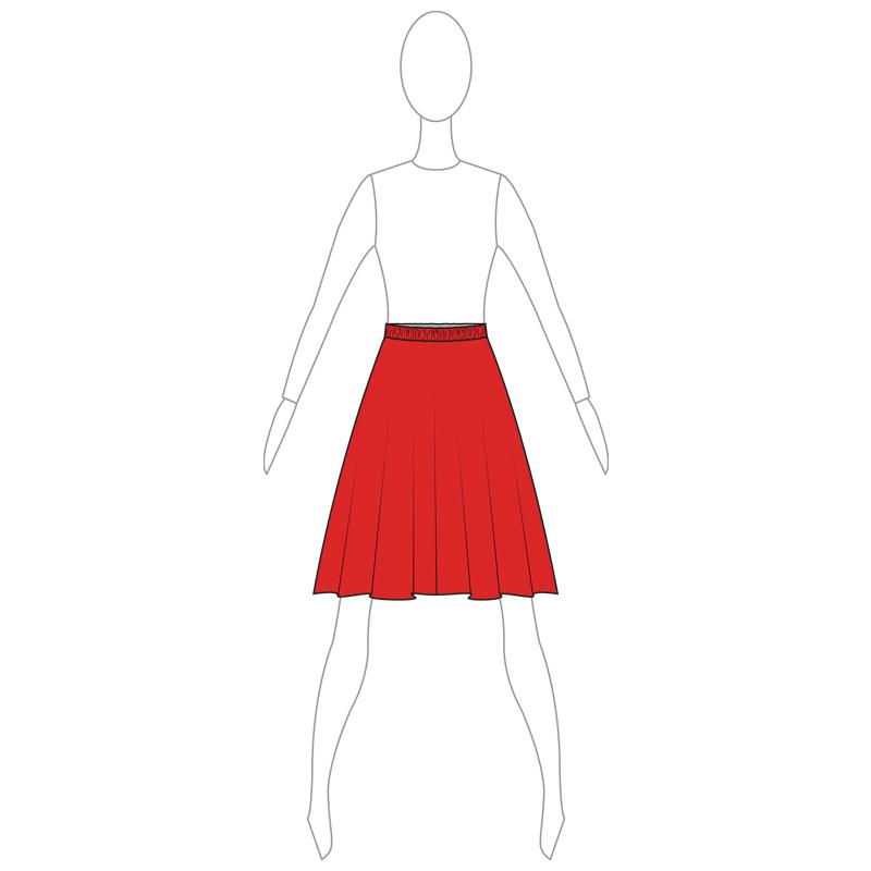 SKIRT 004-A RED LYCRA