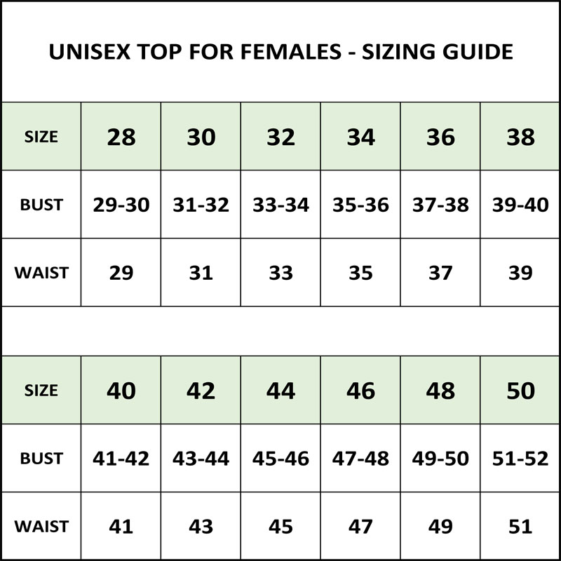 Sizing Guide - Unisex Tops - Female Sizes - In Stock Costumes