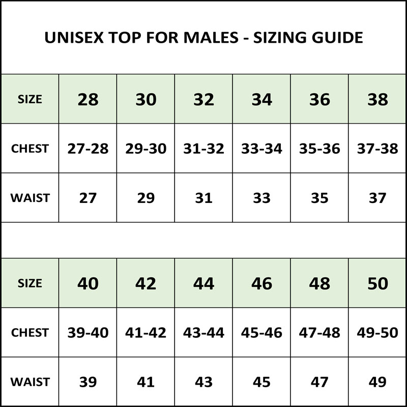 Sizing Guide - Unisex Tops - Male Sizes - In Stock Costumes