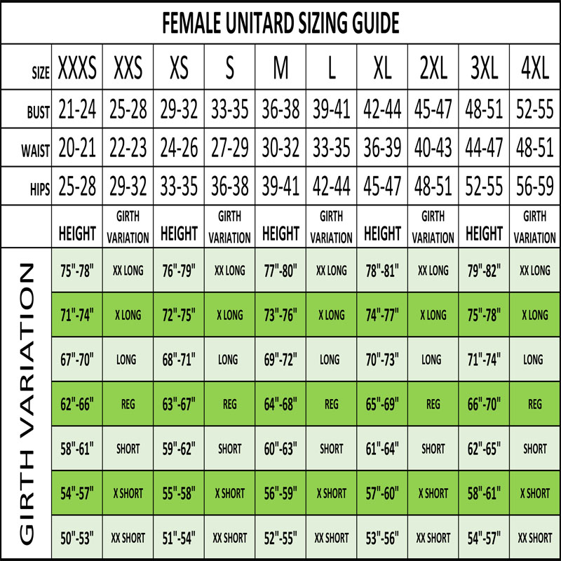 Sizing Guide - Female Unitard Sizes - In Stock Costumes